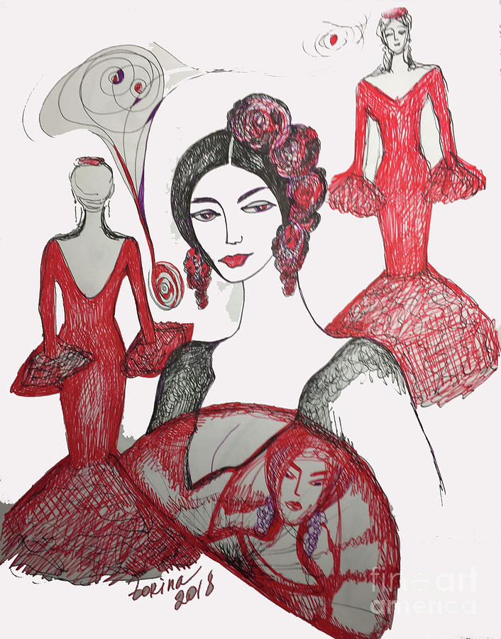 Red Drawing - Red Passion by Zorina Kunkina