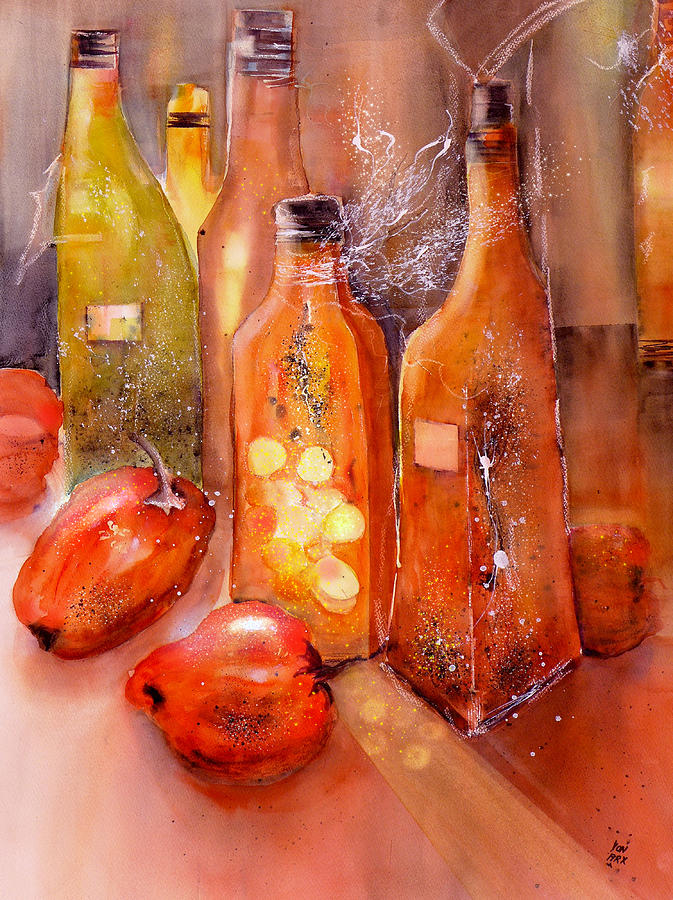 Red Peppers and Olive Oil Still Life by Sabina Von Arx