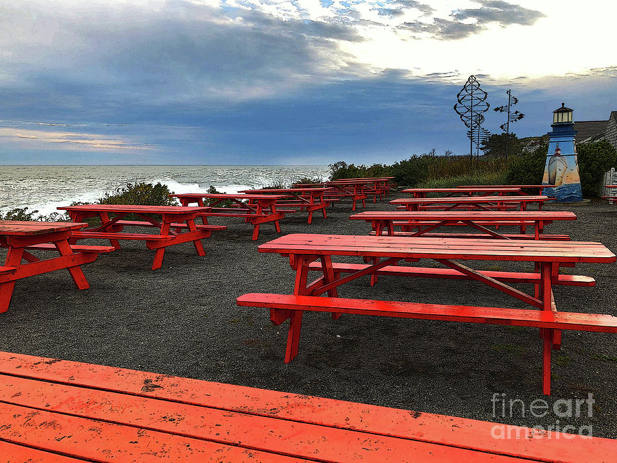 Red Picnic Tables by Jeanette French