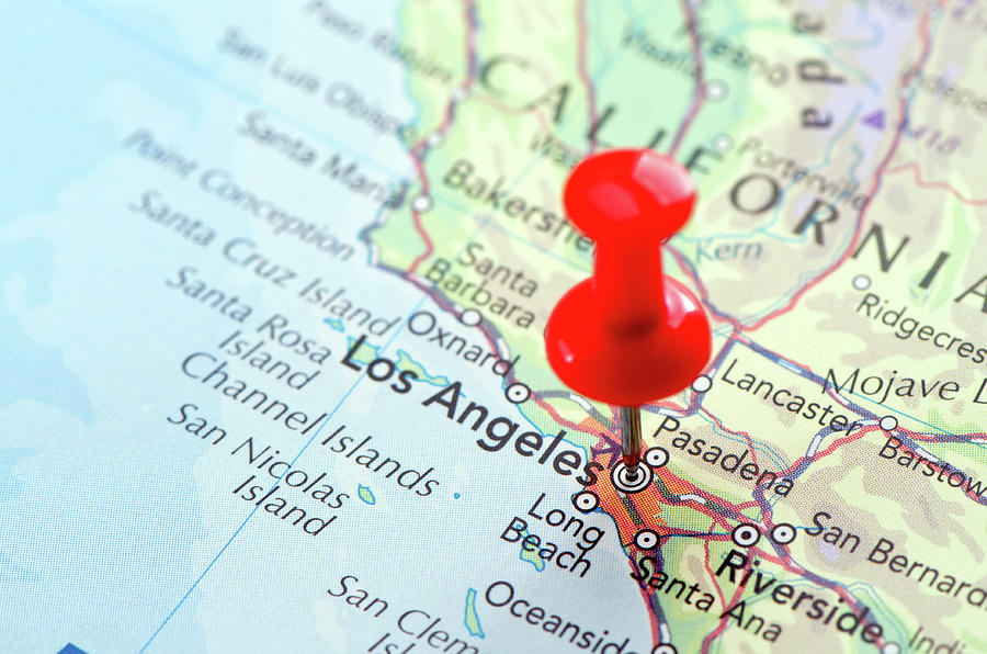 Red Pin Pointed On The Los Angeles Map Photograph by Yorkfoto