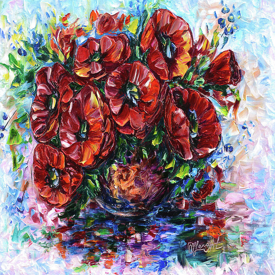 Red Poppies In A Vase by OLena Art - Lena Owens
