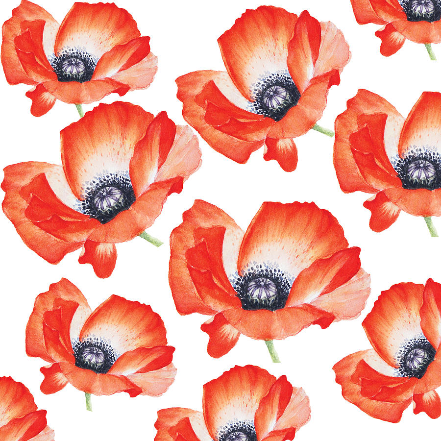 Red Poppy Flower Pattern In Watercolor By Mahsawatercolor Painting