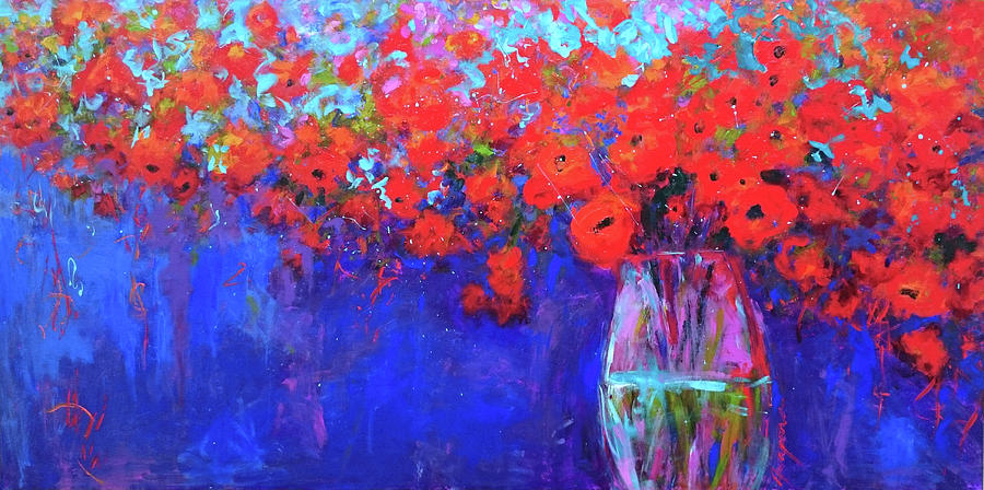 Red Poppy Flowers in a Vase by Patricia Awapara