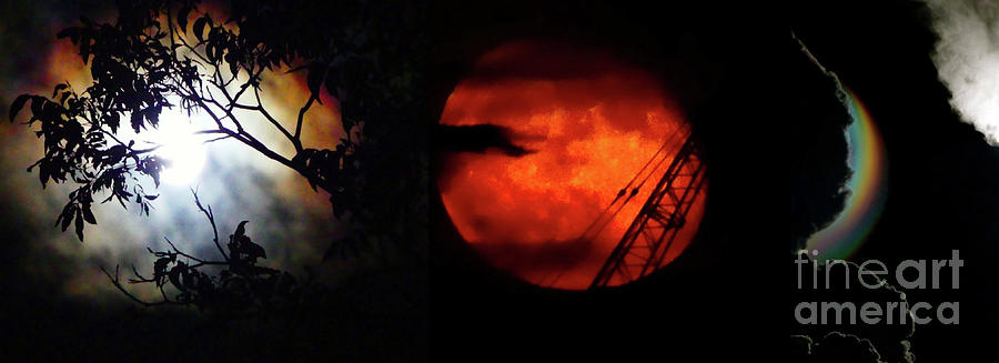 Red Rainbow Moon Art Montage by Krisztina Toth