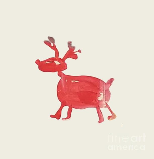 Christmas Painting - Red Reindeer by Maria Langgle