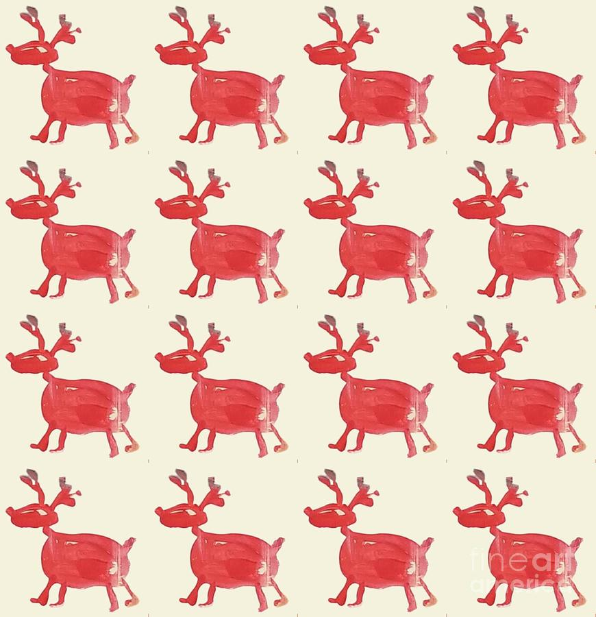 Christmas Painting - Red Reindeer Pattern by Maria Langgle