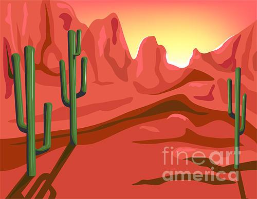 Southwest Digital Art - Red Rock Is Hand Drawn Original Artwork by Charmaine Paulson