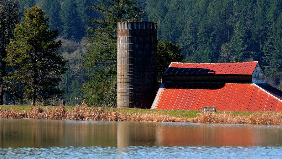 Red Roof Silo Reflections by Jerry Sodorff