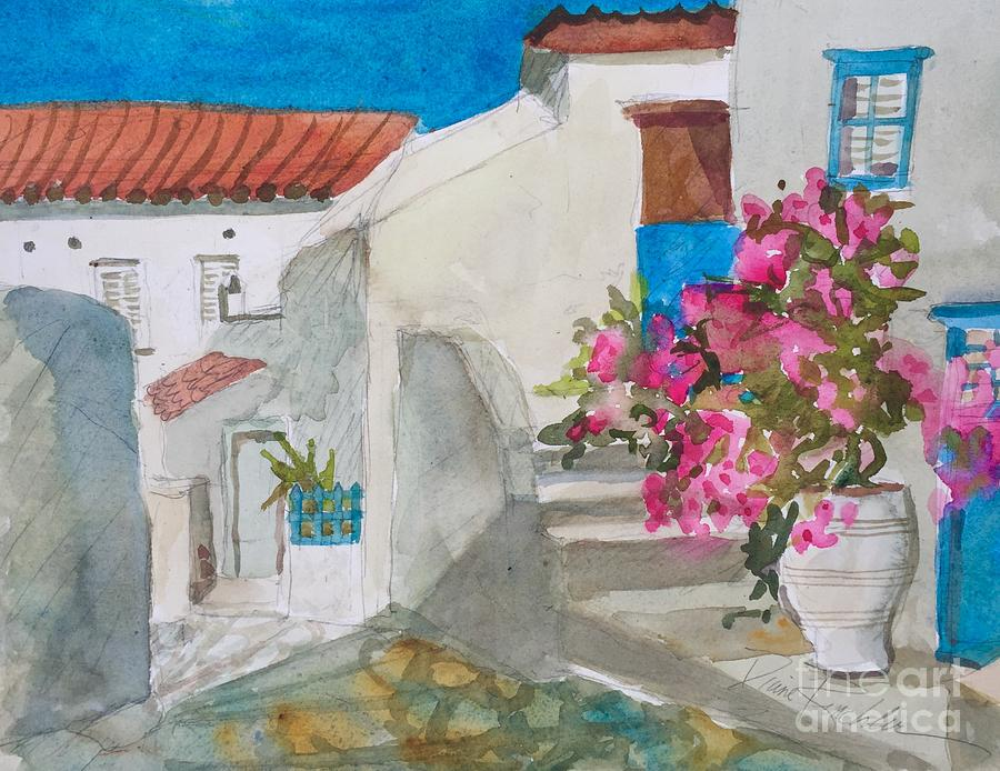 Red Roofs and White Washed Wallls by Diane Renchler