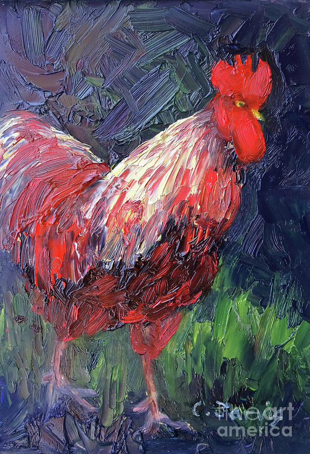 Red Rooster Stroll by Carolyn Jarvis