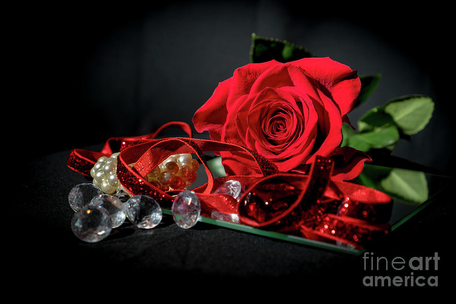 Red Rose on mirror with decoration by Annerose Walz