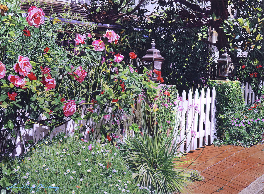 RED ROSES AT THE WHITE GATE by David Lloyd Glover