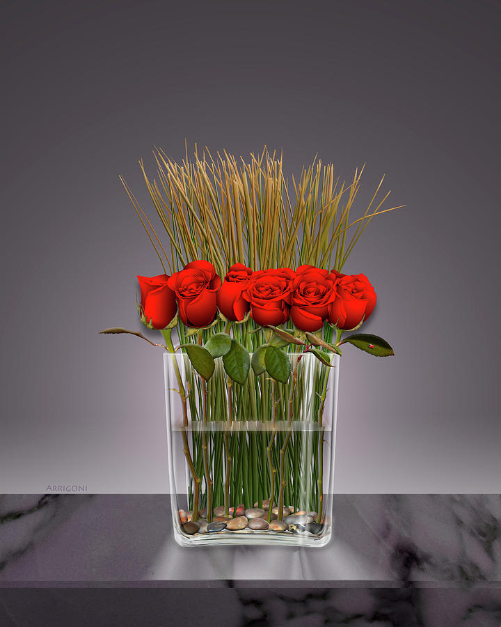 Red Roses in Vase by David Arrigoni