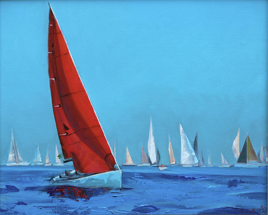 Red Sail at the Regatta by Trina Teele