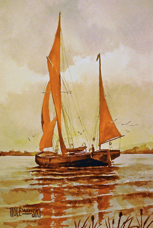 Fishing Boat Painting - Red Sails by Robert Holewinski