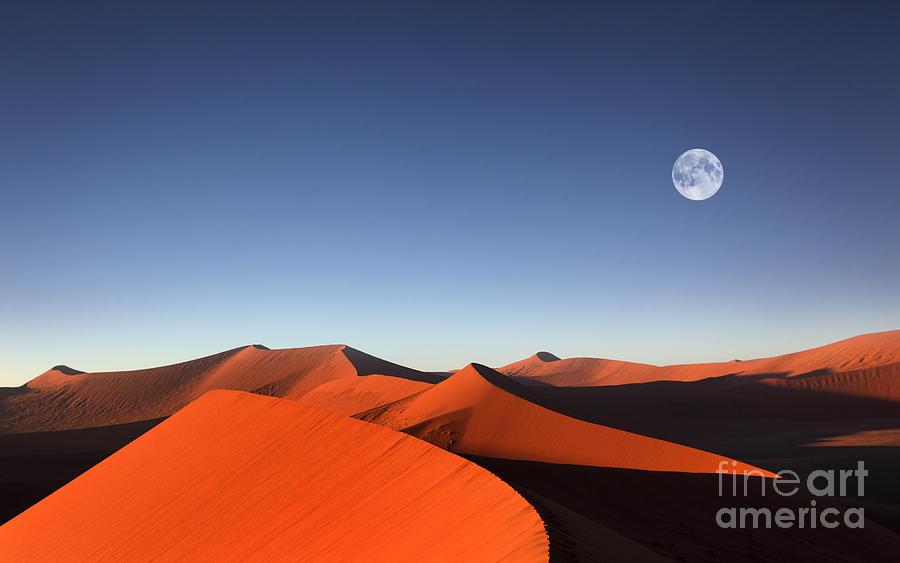 Blue Sky Photograph - Red Sand Dune With Full Moon by Dietmar Temps