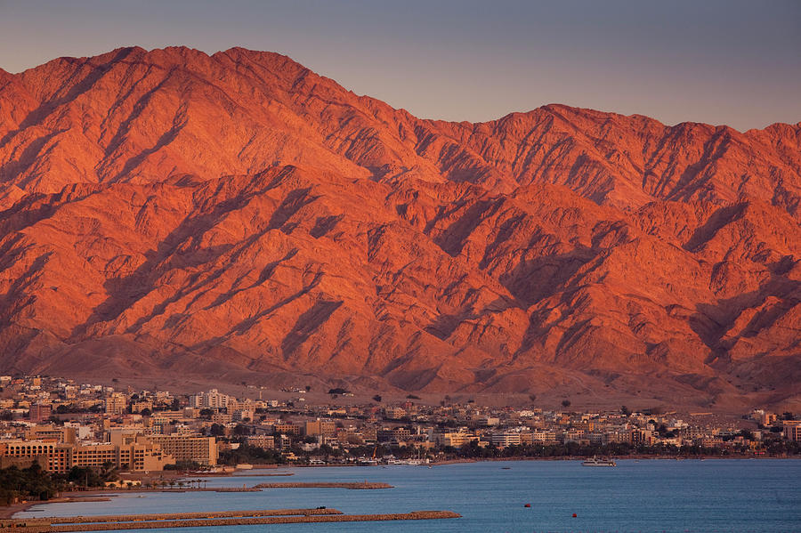 Red Sea Beachfront, Sunset View Towards Photograph by Walter Bibikow