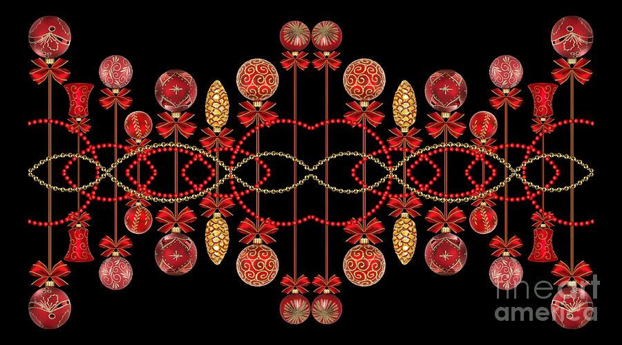 Red Silver and Gold Christmas Ornaments by Rose Santuci-Sofranko