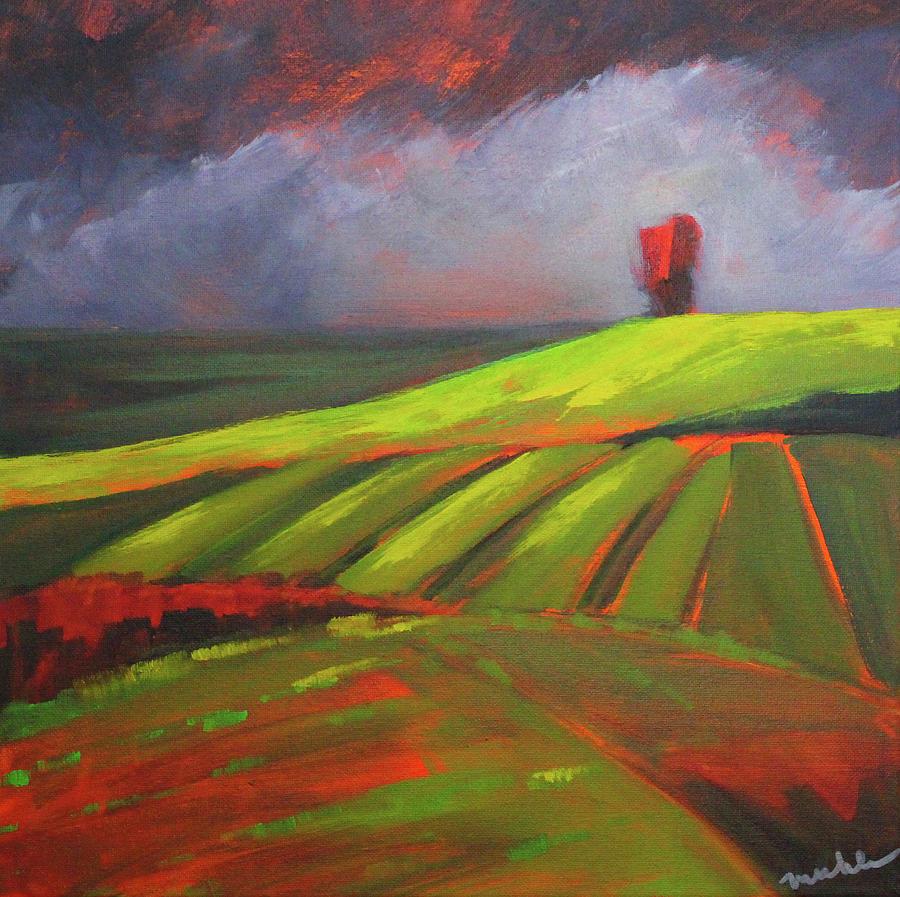 Red Sky Painting - Red Sky by Nancy Merkle
