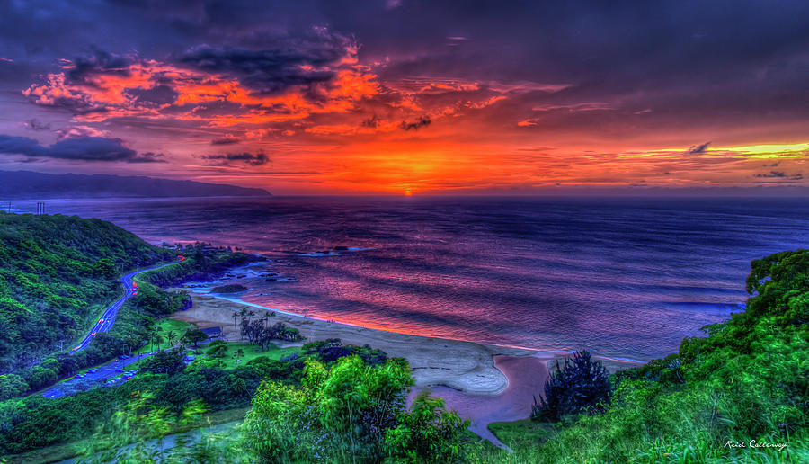Red Sky Reflections Waimea Bay Sunset North Shore Oahu Hawaii Art  Photograph by Reid Callaway