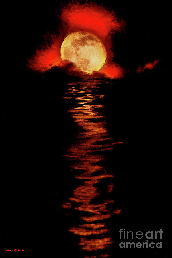 Red Smoke Ocean Moon Rise by Blake Richards