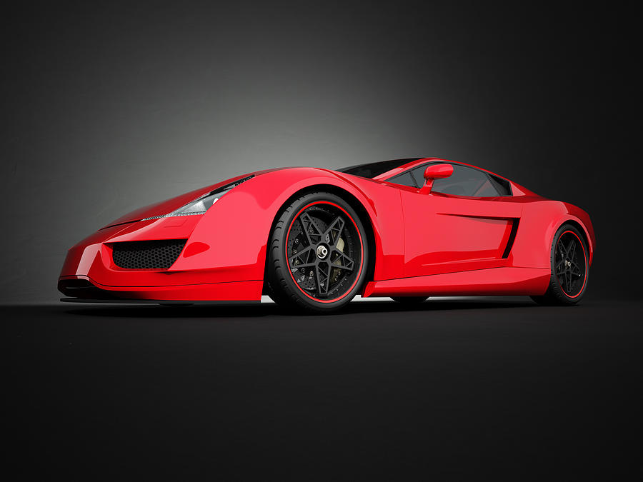 Red Sport Car On Black Studio Background Photograph by Firstsignal