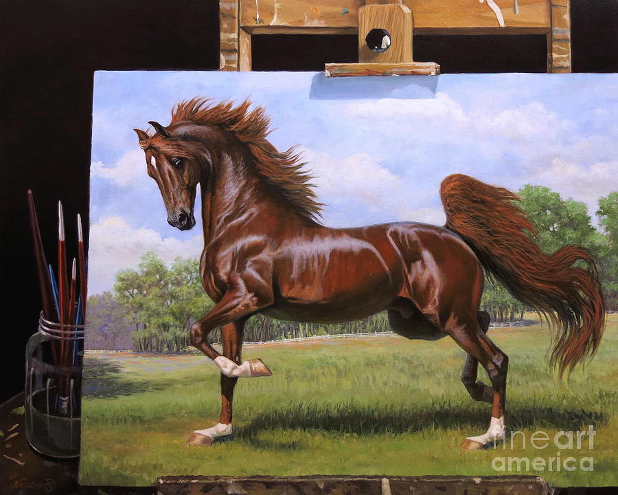 Red Stallion On Easel by Jeanne Newton Schoborg