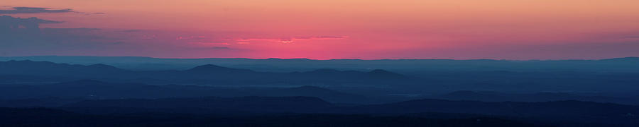 Red Sunset over the foothills of Mount Cheaha in Alabama by James-Allen