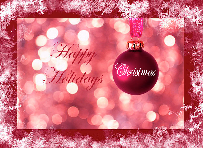 Red Theme Happy Holidays And Christmas Design by Johanna Hurmerinta