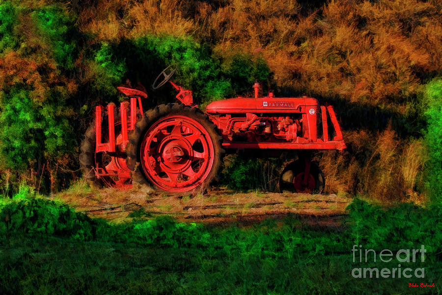 Red Tractor And Some Green by Blake Richards