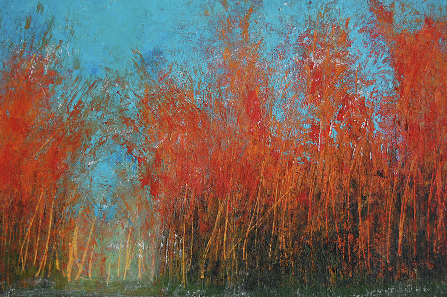 Red Trees In Autumn by Barbara J Blaisdell