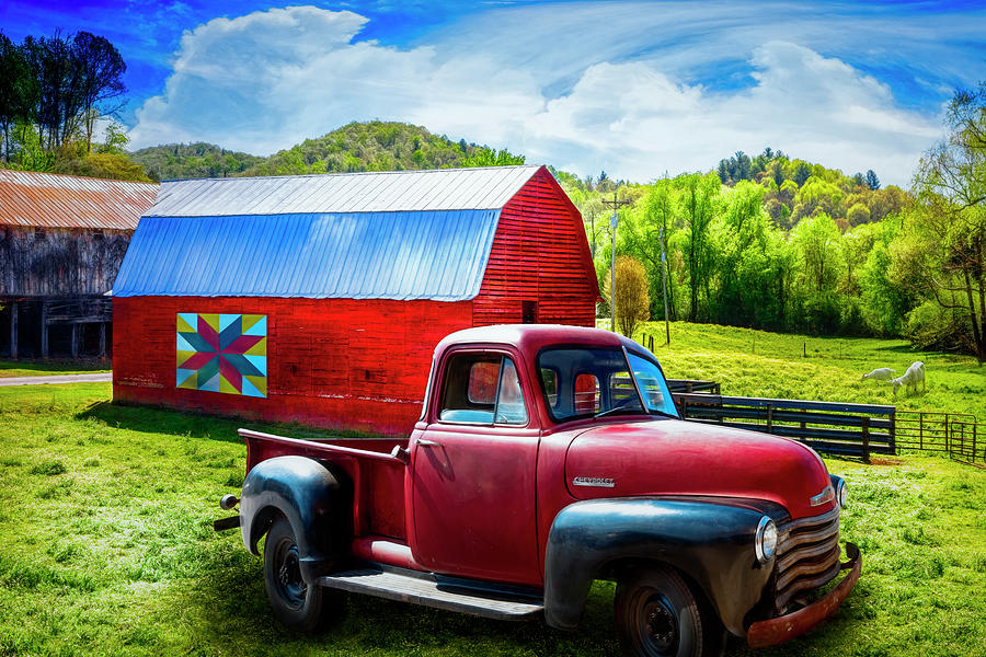 1947 Photograph - Red Truck At The Red Barn by Debra and Dave Vanderlaan