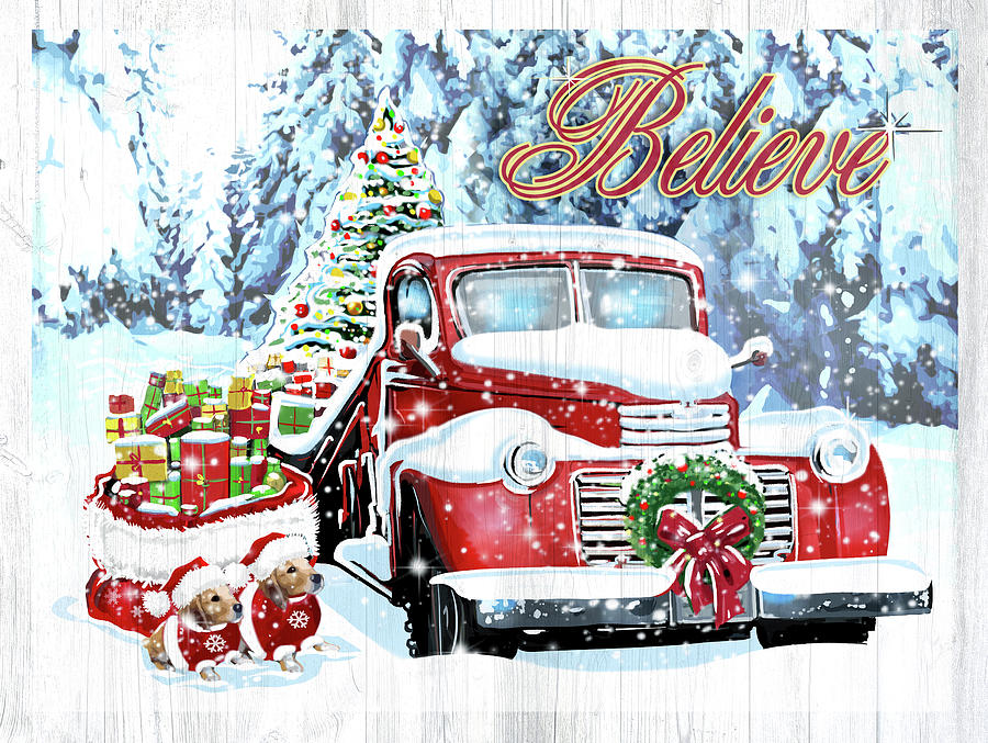 Transportation Mixed Media - Red Truck Christmas by Old Red Truck
