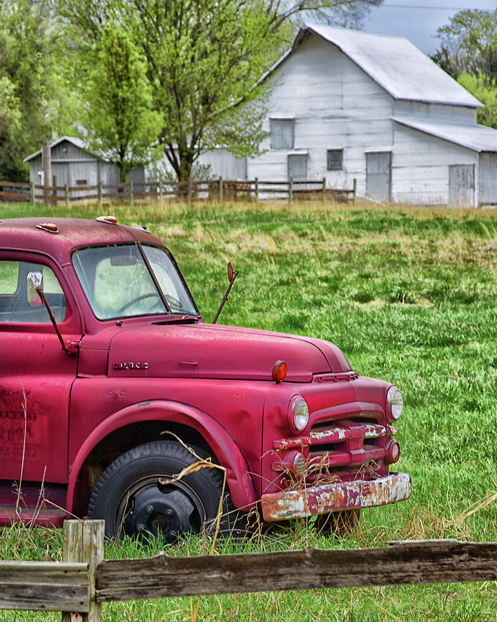 Red Truck White Barn by Jolynn Reed