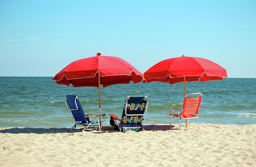 Red Umbrellas  by Cynthia Guinn