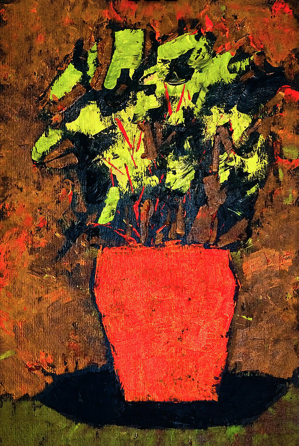 Flowers Painting - Red Vase by Marty Klar