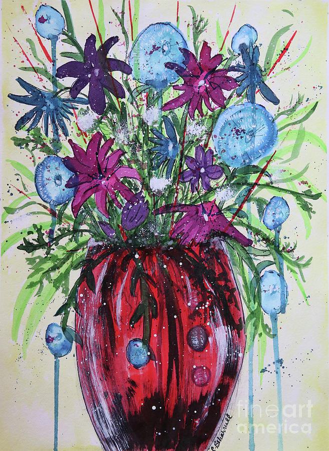 Red Vase of Whimsy Abstract  by Cathy Beharriell