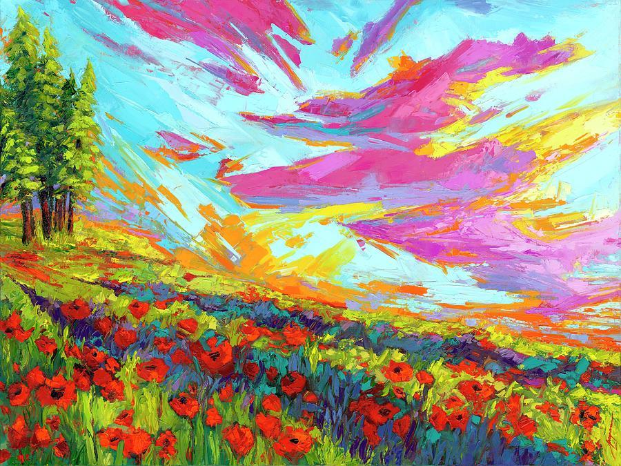 Red Velvet Hues -Joyful Poppy Flower Field Impressionist Oil Painting, Palette Knife Painting by Patricia Awapara