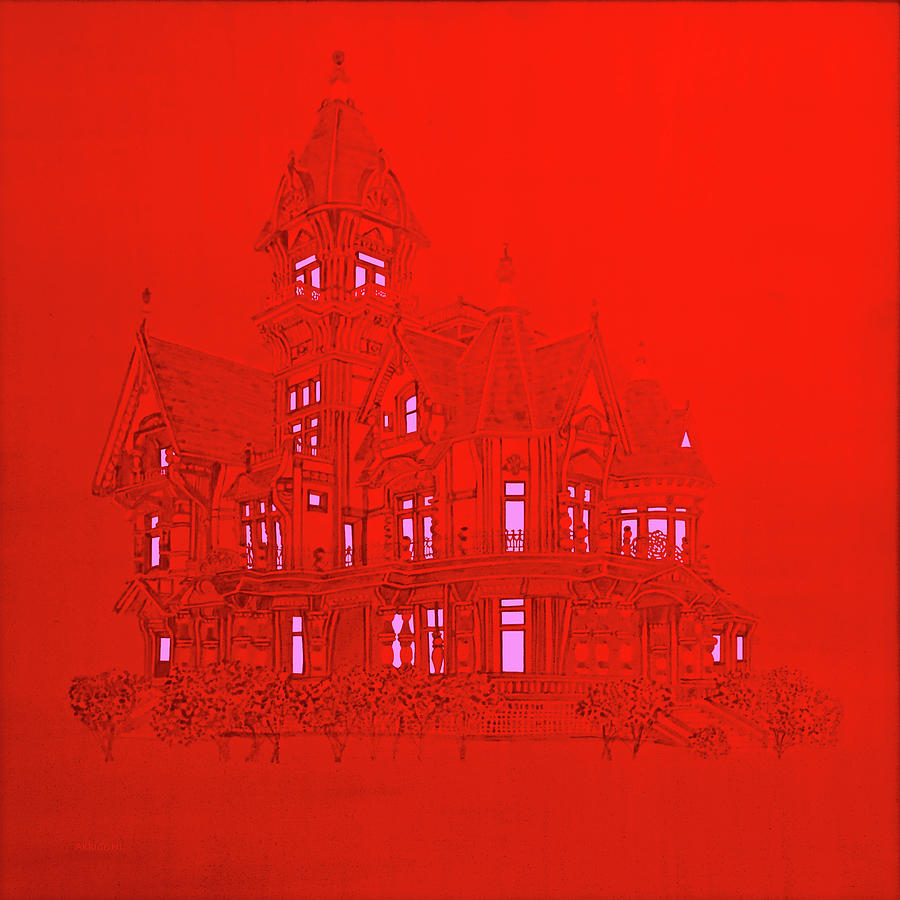 Red Victorian Mansion  by David Arrigoni