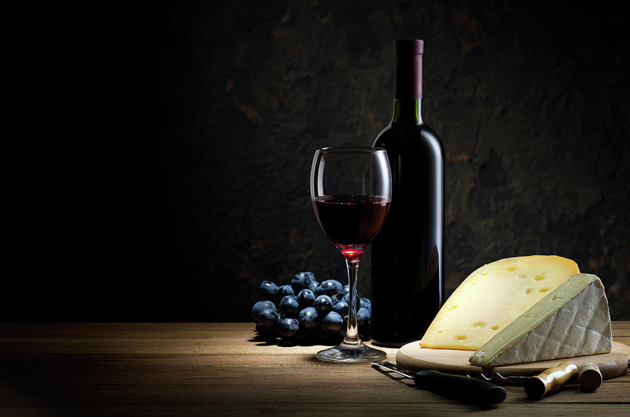 Red Wine And Cheese Photograph by Julichka