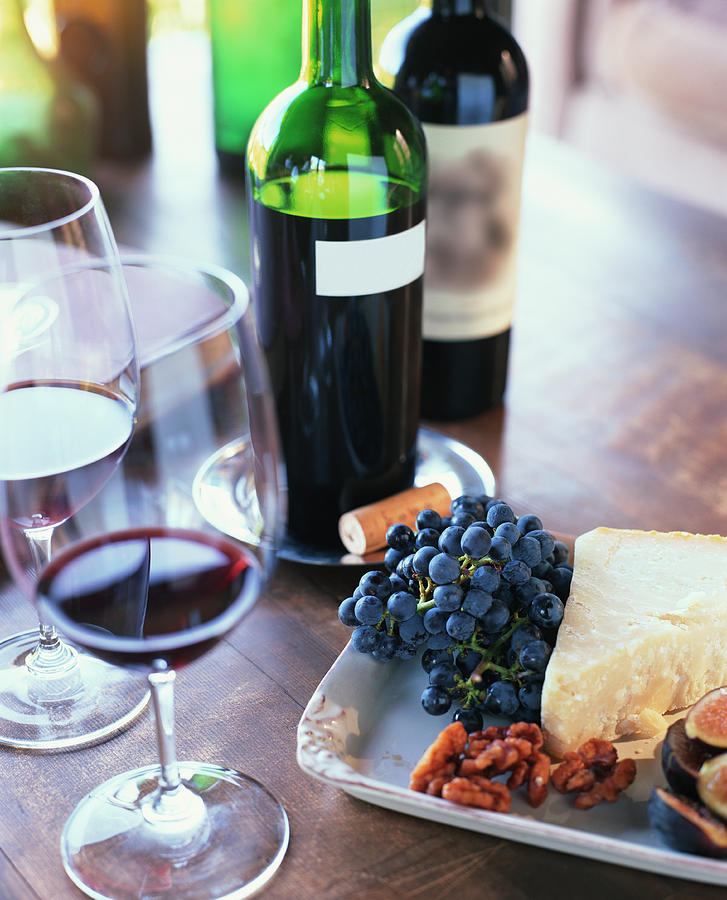Red Wine, Fruit, Nuts And Cheese On Photograph by Lisa Romerein