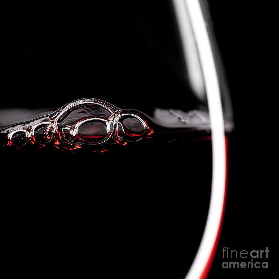 Drop Photograph - Red Wine Glass Silhouette On Black by R.classen