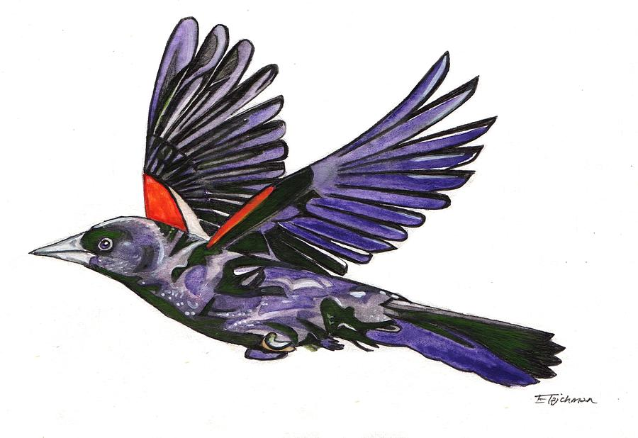 Red-winged Blackbird Painting - Red-winged Blackbird by Ed Tajchman