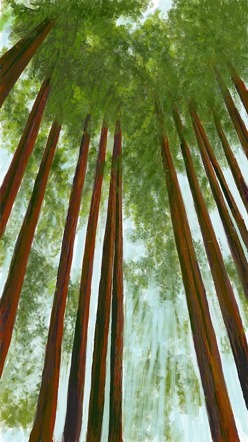 Landscape Digital Art - Redwood Forest by Juan Carlos Rios