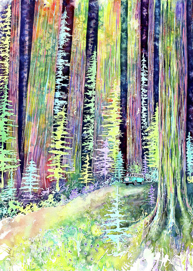 Travel Painting - Redwoods Road Trip by Michelle Faber