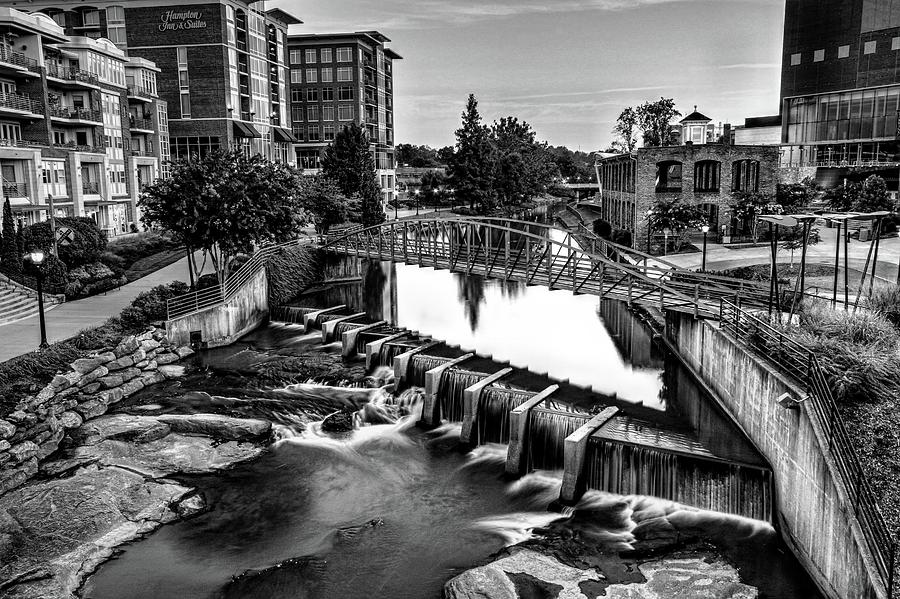 Reedy River In Downtown Greenville Sc Black And White Photograph