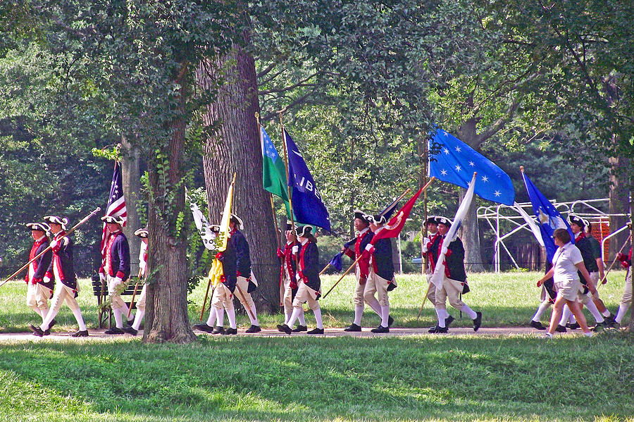 Reenactors Of The Revolutionary War Marching Near The Reflecting Pool On  The Mall, Washington Dc