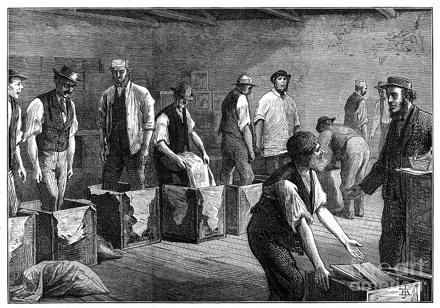 Refilling Chests In A Tea Warehouse Drawing by Print Collector