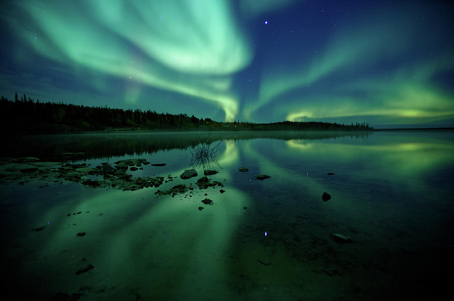 Reflected Northern Lights On Clear Water Photograph by Steve Schwarz