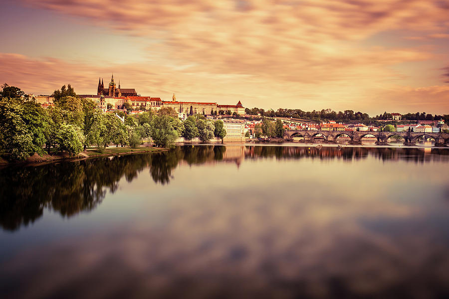 Reflection Of Colored Clouds On The River, Sunrise In Prague Photograph